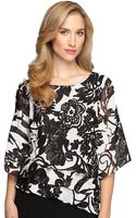 Alex Evenings Plus Floral Print Chiffon Asymmetrical Tier Blouse - Lyst