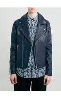 Topman Navy Leather Biker Jacket - Lyst