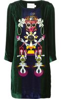 Mary Katrantzou Elio Shift Velvet Dress - Lyst