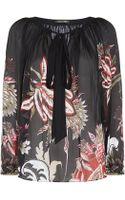 Roberto Cavalli Floral Pleated Silk Blouse - Lyst