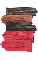 Lauren by Ralph Lauren Contrast Leather Gloves - Lyst