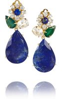 Bounkit Goldplated Onyx Quartz and Lapis Lazuli Clip Earrings - Lyst