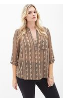 Forever 21 Geo Woven Blouse - Lyst