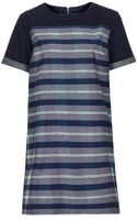 Topshop Moto Denim Stripe Tshirt Dress - Lyst