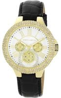 Vince Camuto Womens Black Crocopattern Leather Strap Watch 42mm Vc - Lyst