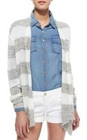 Cusp Elira Striped Openfront Cascade Cardigan Blackwhite Stylist Pick - Lyst