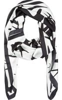 McQ by Alexander McQueen Black and Pale Sage Swallow Swarm Scarf - Lyst