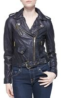 MICHAEL Michael Kors Cropped Leather Moto Jacket - Lyst