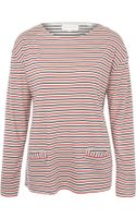 Chinti & Parker Red Stripe Two Pocket Long Sleeve T-Shirt - Lyst