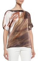 Lafayette 148 New York Larkin Short Sleeve Printed Top - Lyst