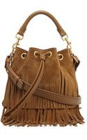 Saint Laurent Small Suede Fringe Bucket Shoulder Bag Tan - Lyst