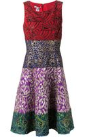 Oscar de la Renta Embellished Color Blocked Dress - Lyst