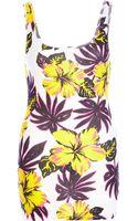River Island Yellow Tropical Flower Print Scoop Neck Vest - Lyst