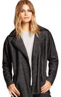 Michael Stars Long Sleeve Moto Jacket with Leather - Lyst