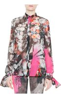 Just Cavalli Long Sleeve Floral Print Tie Cuff Blouse - Lyst