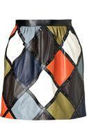 Valentino Leather Harlequin Miniskirt - Lyst