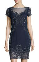 Adrianna Papell Beaded Lace Cocktail Dress - Lyst