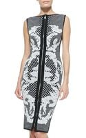 Hervé Léger Printed Jacquard Sheath Dress - Lyst