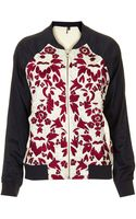 Topshop Embroidered Bomber Jacket - Lyst