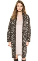 By Malene Birger Cameliu Long Leopard Cardigan Dark Brown - Lyst