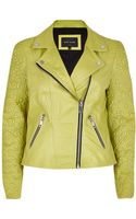 River Island Lime Embossed Leather Jacket - Lyst
