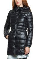 Patrizia Pepe Long Ultralight Down Jacket with Hood - Lyst