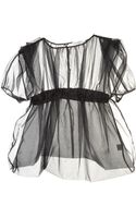 J.W. Anderson Sheer Banded Black Silk Top By - Lyst