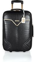 River Island Black Mock Croc Wheelie Suitcase - Lyst