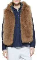 Brunello Cucinelli Reversible Fur Zip Vest - Lyst