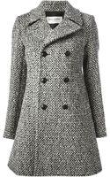 Saint Laurent Tweed Double Breasted Coat - Lyst