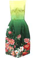 Oscar de la Renta Slim Print Skirt Dress - Lyst
