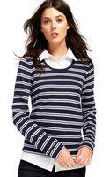 Tommy Hilfiger Striped Layered Shirt Sweater - Lyst