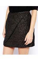 See U Soon Metallic Jacquard Wrap Front Skirt - Lyst