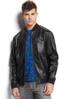 Versace Jeans Leather Bomber Jacket - Lyst