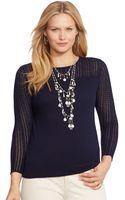 Lauren by Ralph Lauren Plus Size Pointelle-knit Illusion Sweater - Lyst