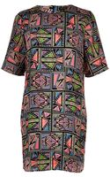 River Island Black Aztec Print Tshirt Dress - Lyst