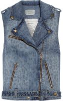 Current/Elliott The Sleeveless Moto Leopardprint Denim Vest - Lyst