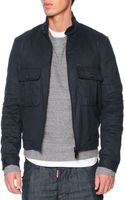 DSquared2 Woolflannel Bomber Jacket Navy - Lyst