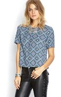 Forever 21 Boxy Ornate Geo Top - Lyst