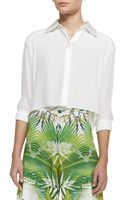 Alice + Olivia Sharon Cropped Buttonfront Blouse Alice Olivia - Lyst