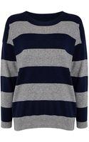 Jaeger Striped Oversize Sweater - Lyst