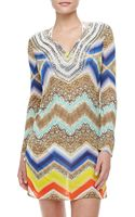 Milly Gaudas Embroidered Longsleeve Tunic Coverup - Lyst