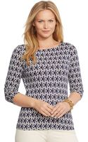 Lauren by Ralph Lauren Plus Size Three-quarter-sleeve Geo-print Top - Lyst