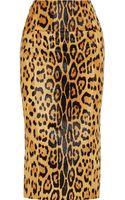 Balmain Leopard Print Calf Hair Midi Skirt - Lyst