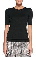 Lela Rose Half-sleeve Sweater W Pearl Front - Lyst