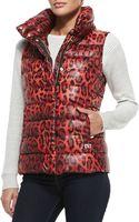Diane Von Furstenberg Packable Animal-print Zip-front Puffer Vest - Lyst