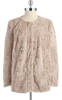 Vince Camuto Faux Fur Zipper Closure Jacket - Lyst