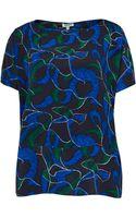 Kenzo  Leaf Print Silk Shell Top - Lyst