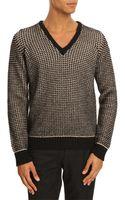 Armani Jeans W08 Black and Grey Knit Vneck Sweater - Lyst