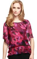Alex Evenings Abstract Print Triple Tier Blouse - Lyst